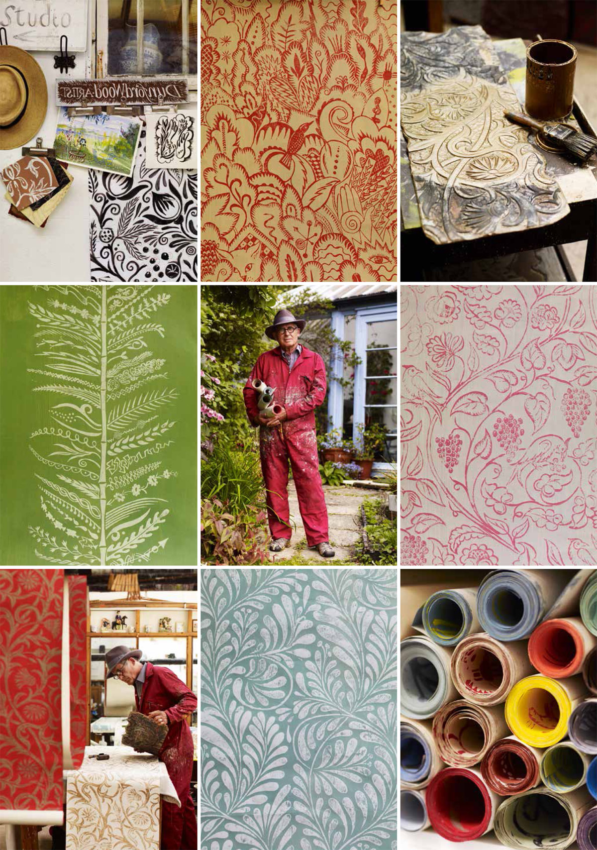 Hugh Dunford Wood Handmade Wallpaper featured in Gardens Illustrated